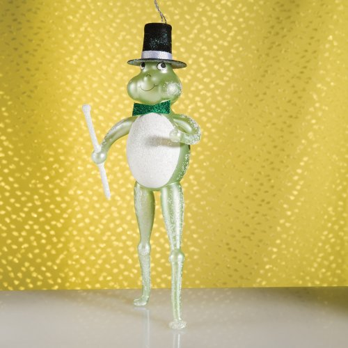 De Carlini Frog with Top Hat Italian Mouthblown Christmas Ornament