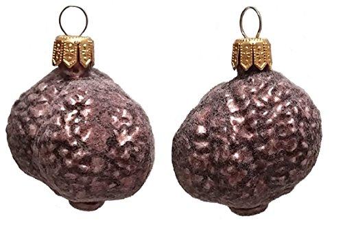 Fuzzy Black Truffle Polish Glass Christmas Ornament Set of 2 Holiday Decorations