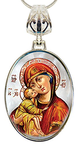 G. Debrekht Holy Virgin Mary of Vladimir Silver-Plated Mother-of-Pearl Cabochon Oval Pendant with Chain Figurine, 18″