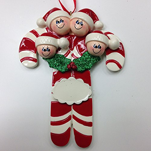 Candy Cane Family of Four Ornament