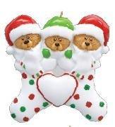 Bear Stocking Family of 3 Ornament