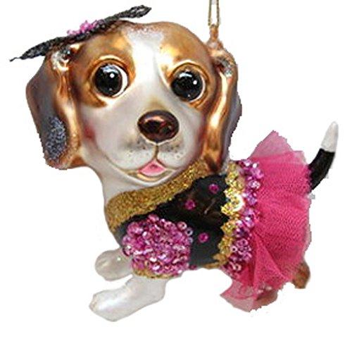 December Diamonds Blown Glass Ornament Beagle in Pink Skirt