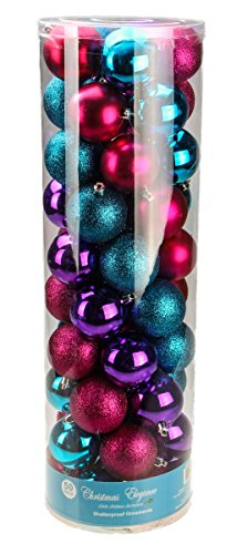 Red, Teal, and Purple Decorative Christmas 60mm Shatterproof Orbs and Ornaments – 50 Pack
