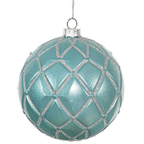 Vickerman Candy Glitter Net Ball Ornaments, 4-Inch, Teal, 6-Pack