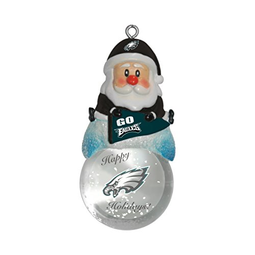 NFL Philadelphia Eagles Snow Globe Ornament, Silver, 1.5″