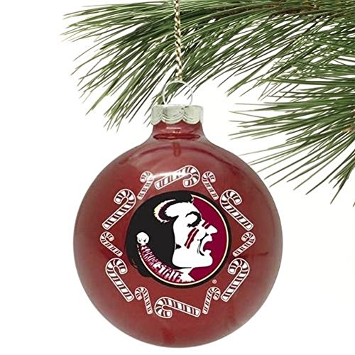 NCAA Candy Cane Traditional Glass Ball Christmas Ornament- 2 5/8″-Florida State Seminoles