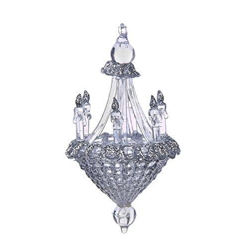 Kurt Adler 5″ Plastic Clear & Silver Chandelier Ornament