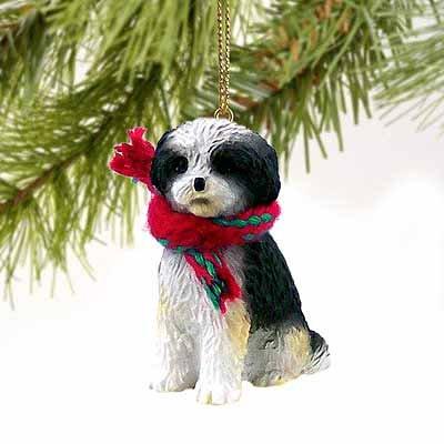 Shih Tzu Puppy Cut Miniature Dog Ornament – Black & White