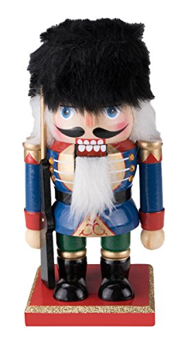 Chubby Soldier Nutcracker Decoration Figure – 7″ Red, Green, Black, White and Gold