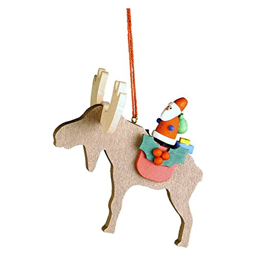 "10-0481 – Christian Ulbricht Ornament – Santa on Elk – 3″""H x 3″""W x 3″""D"