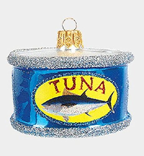 Tuna Fish in a Can Polish Mouth Blown Glass Christmas Ornament Food Decoration