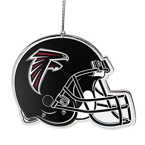 NFL Atlanta Falcons Flat Metal Helmet Ornament, Silver, 3″ Width and 2.25″ Height