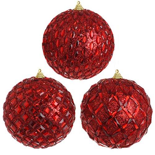 RAZ Imports – 5″ Gem Ball Ornaments – Set of 3
