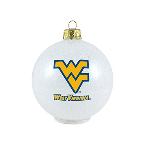 NCAA West Virginia Mountaineers LED Color Changing Ball Ornament, 2.625″, White
