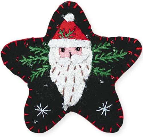 Appliqued Felt Ornament, Long Beard Santa – Set of 3