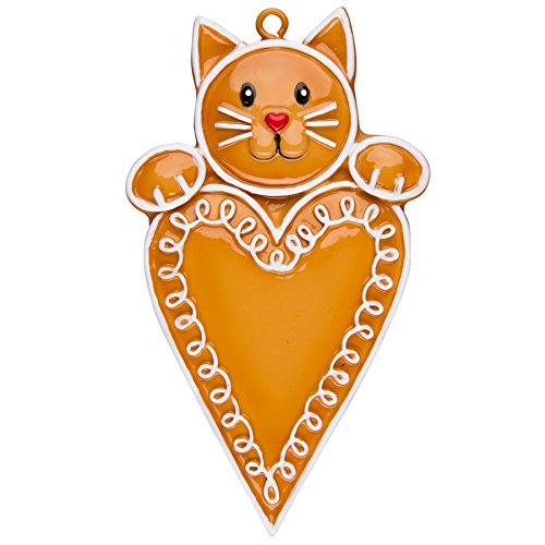 Personalized Christmas Ornament GINGERBREAD CAT WITH HEART