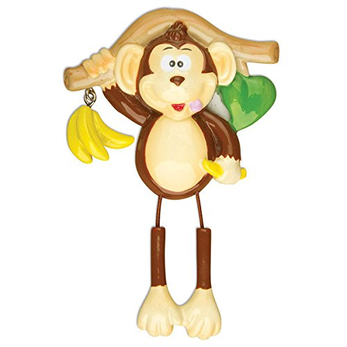 Single Monkey Personalized Christmas Tree Ornament