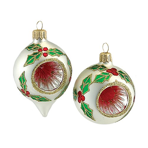 Kurt Adler Round/Oval Reflector Ornament, 63mm, Red and Green, Set of 4