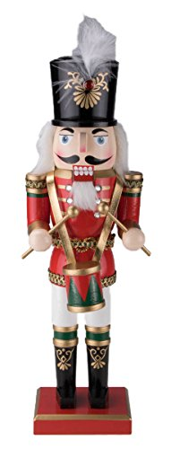 Soldier Drummer Nutcracker Decoration Figure with Hat and Drum – 14″ Red, Green, Black, White and Gold