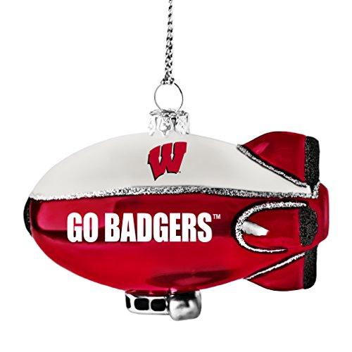NCAA Wisconsin Badgers Glitter Blimp Ornament, Silver, 3″ x 2.25″