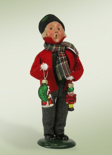 10″ Caroler Boy with Glass Ornaments Christmas Table Top Decoration