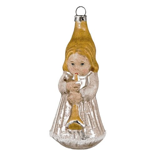 "Vintage mouthblown Christmas Glass ornament ""Angel with Trumpet"" by MAROLIN® Germany"