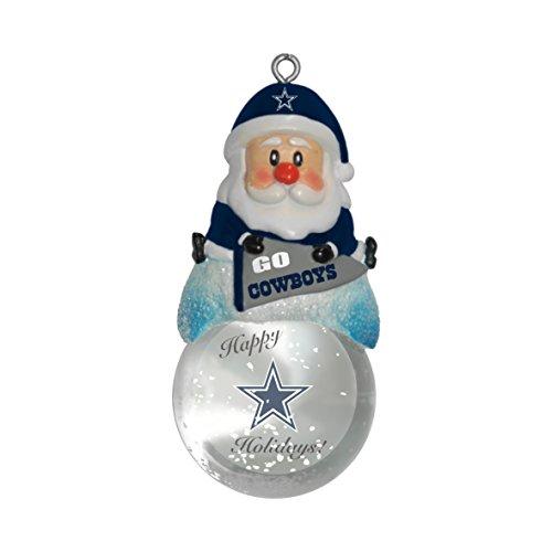 NFL Dallas Cowboys Snow Globe Ornament, Silver, 1.5″