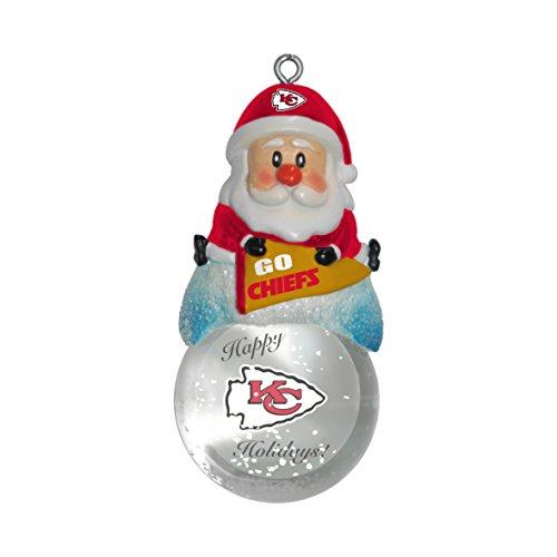NFL Kansas City Chiefs Snow Globe Ornament, Silver, 1.5″