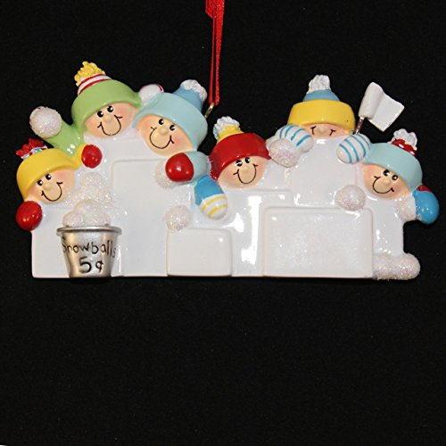 Snowball Fight Personalizable Christmas Ornament