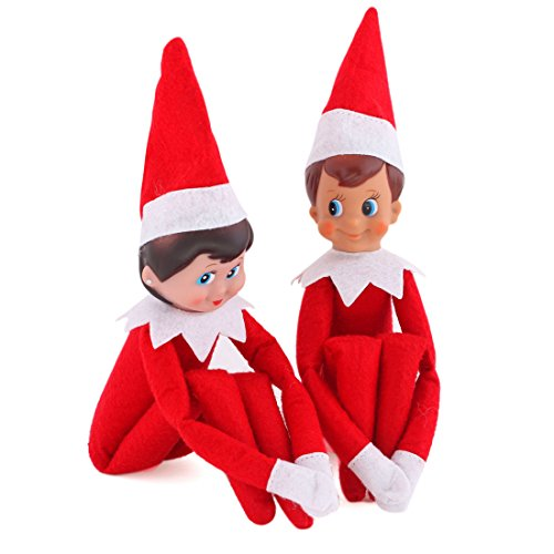 CYNDIE Hot Sale New Elf on The Shelf Plush Dolls Girl Boy Figure Christmas Novelty Toys Xmas Gift Best Price Gift One Set(Boy and Girl)