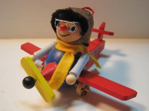 Steinbach Christmas Ornament, Pilot in a Plane, Handmade in Germany