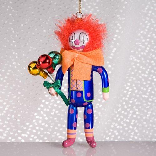 De Carlini Clown with Ballons Italian Mouthblown Christmas Ornament