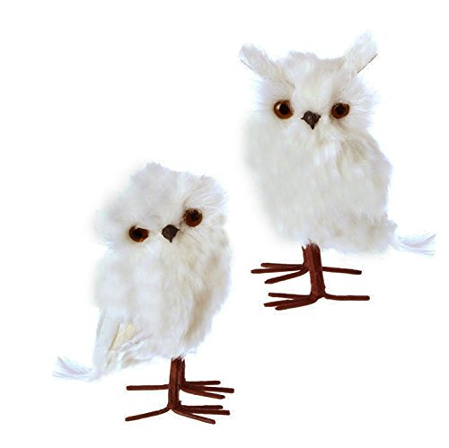 Christmas Feathered White Owl Bird Figure Ornaments – 6 in Tall – Set of 2