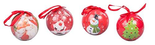 Christmas Lighted Red Ball Ornament Assortment Santa, Snowman, X-Mas Tree – Set of 4