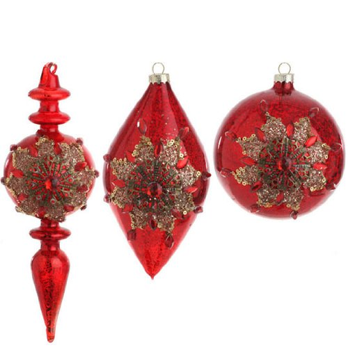 RAZ Imports – Antiqued Red With Gold Poinsettia Glass Ornaments