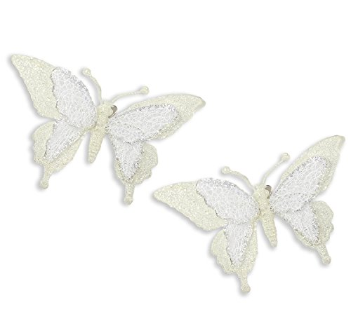 Holiday Lane Ivory Glitter Butterfly Clip-On Christmas Ornaments (Set of 2)