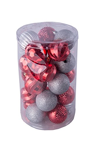 Red, White, and Silver Christmas Decorative Shatterproof Orbs and Ornaments – Assorted 25 Pack up to 60mm