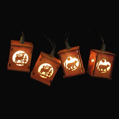 Kurt Adler UL 10-Light Wooden Lantern Light Set with Bears and Deer