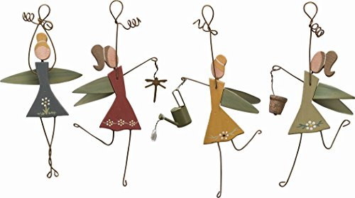 """Primitives By Kathy Wooden/Metal """"Flying Fairies"""" (Set/8) Ornament/Decoration"""
