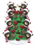 Bear Family of 8 on Christmas Tree