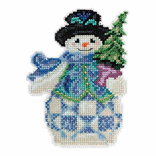 Evergreen Snowman Beaded Counted Cross Stitch Kit Mill Hill 2015 Jim Shore Winter Series JS205101