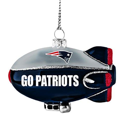NFL New England Patriots Glitter Blimp Ornament, Silver, 3″ x 2.25″