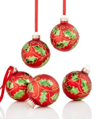 Holiday Lane 5 Glass Christmas Holly Ornaments