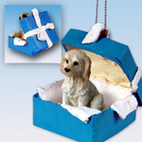 Conversation Concepts Labradoodle Cream Gift Box Blue Ornament