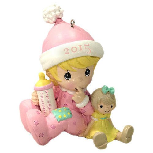 Precious Moments 2015 Babys First Christmas Ornament – Girl