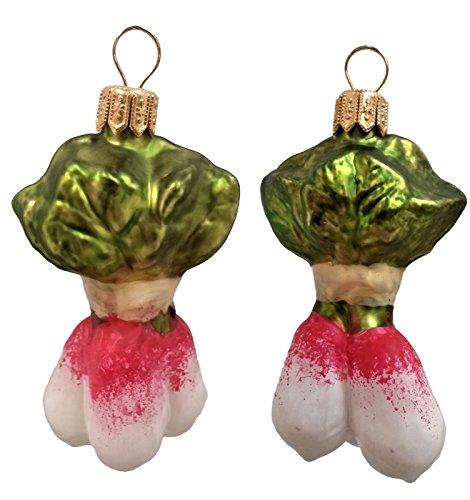 Radish Vegetable Polish Mouth Blown Glass Christmas Ornament Set of 2