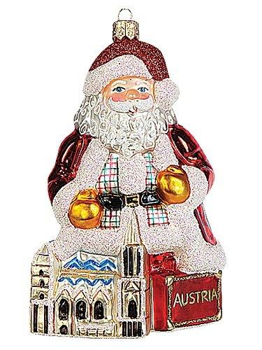 Santa in Austria Polish Mouth Blown Glass Christmas Ornament Decoration