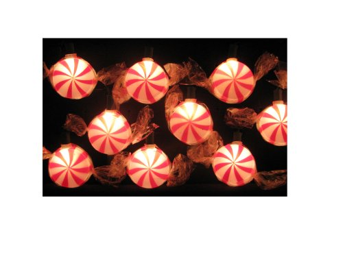 Kurt Adler 10-Light Red Peppermint Candy Light Set