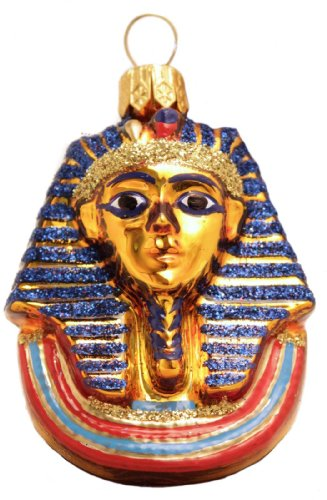 Mini Egyptian Mask of King Tut Polish Mouth Blown Glass Christmas Ornament