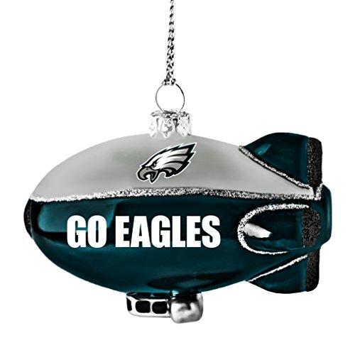NFL Philadelphia Eagles Glitter Blimp Ornament, Silver, 3″ x 2.25″